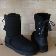 UGG Kristabelle Corset Bailey Bow Black Suede Short Boots Size US 8 Womens