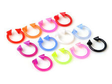 Lot 10pcs 18G FLEXIBLE Acrylic Spike Horseshoes Tragus Lip Eyebrow Rings