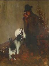 Enorme temprano 20th Century Sherlock Holmes & Spaniel Perro en la noche pintura al óleo