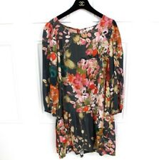 Anthropologie Meadow Rue Coral Pink Floral Drop Hem Pocket Smock Dress 16 Plus