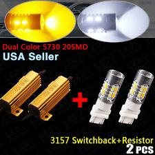 2x 3157 Dual Color Switchback Amber/White LED Turn Signal Lights Bulb +Resistors