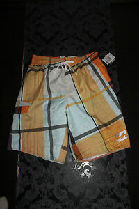 Billabong Boardshorts Plaid Zero Baggy Shorts Orange SIZE S NEW WITH LABEL