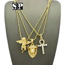 "Hip Hop Micro Pave Ankh Cross, Lion Head, Angel Pendant 24"" Chain 3 Necklace Set"