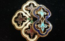Vintage or Antique Enamel on Brass Belt Buckle Fluer De Lis