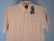 Izod Shirt L Men Camp Short Sleeve SS Yellow White Red Orange  New