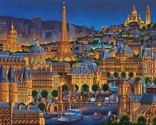 DOWDLE FOLK ART COLLECTORS JIGSAW PUZZLE PARIS CITY OF LIGHTS 1000 PCS FRANCE