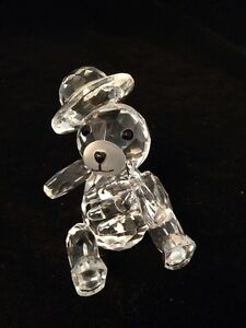 Lead Crystal Teddy Bear With Hat Playing Instrument