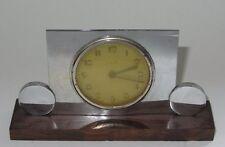 ANCIEN REVEIL ART DECO CHROME & BOIS 1930 - 1940 VINTAGE ALARM CLOCK