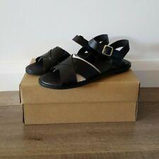 Clarks Willow Gild Black Leather Sandals Size UK 5 Width D EU 38