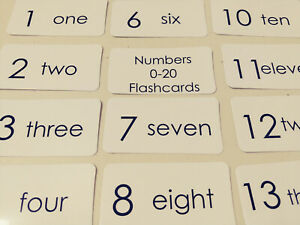21 Numbers 0-20 Black and White Number and Word Flashcards.  Preschool Child Lea