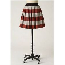Anthropologie Corey Lynn Calter Brick Red & Grey Bengal Stripe Skirt Mini XS 0