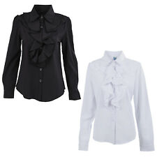Women Long Sleeve Frill Ruffle Collar OL Tops Blouse Shirt L Black V8r8