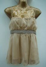 RIVER ISLAND Champagne Chiffon & Diamanté Top Size 12 Party Evening WORN ONCE