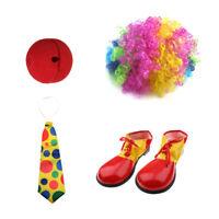 Clown Joker Jester Costume Set Shoes Wig Red Nose Jumbo Necktie Fancy Dress