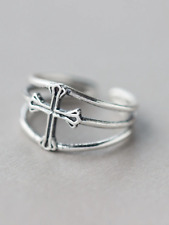 925 silver cross religious one size adjustable ring jewellery present gift