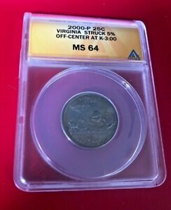 2000P 25 CENTS MINT ERROR STRUCK 5% OFF CENTER ANACS MS 64 AT K-3:00