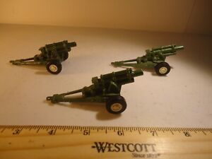 Lot  (3) vintage TOOTSIE TOY Die Cast Howitzers Cannons -  War Reenactment Toys