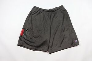Champion Mens Large Streetwear Big Logo Mesh Athletic Shorts Charcoal Gray