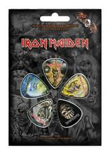 More details for official licensed - iron maiden - faces of eddie 5 guitar plectrum / picks pack