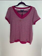 Maine Ladies Top Size 18 Pink Grey Striped 100% Cotton Casual