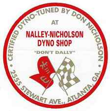 "Nalley-Nicholson Dyno Racing Decal Sticker 3-1/2"" Long Size Vintage Style Vinyl"