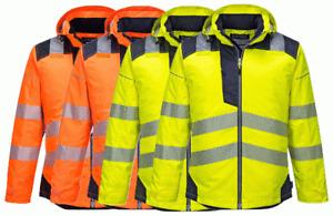 PORTWEST T400 PW3 Hi Vis Winter Jacket Waterproof Reflective Safety Work Coat