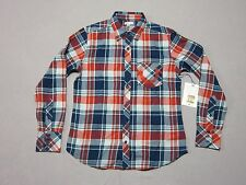 TRUE RELIGION MENS RED & BLUE L/S WOVEN PLAID FLANNEL BUTTON UP SHIRT MEDIUM NEW