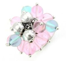Sterling Silver Ring with Pink and Blue Beads Size 7