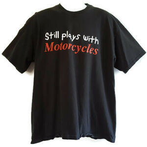 Vintage 90s Lee Men's XL T Shirt Still Plays with Motorcycles Black Cotton