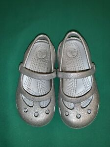 Crocs Girls Toddler Silver Glitter Sparkle Sandals Shoes Mary Janes Size 8