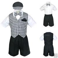 Baby Boy Infant Toddler Wedding Formal Party Shorts Black Vest Suit S-4T Gingham