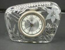 Vintage 1940s - 50s Astra Trillium Hand Cut Lead Crystal Clock Made in Germany