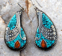 Turquoise Coral Earrings Stone Nepali Tibetan Jewelry Carved Ethnic Gypsy Boho