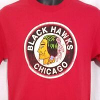 Chicago Blackhawks T Shirt NHL Hockey Factory Distressed Red Size Small NEW