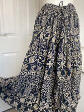 Vtg 1980s Monsoon Indian Cotton Block Print Peasant Boho Maci Skirt M 10 12