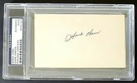 Hank Aaron Vintage Signed (1950s) 3X5 Index Card PSA/DNA Slabbed EARLY RARE AUTO