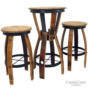 WINE BARREL Furniture Hourglass Pub table Set SWIVEL Top Stools FREE SHIPPING!!!