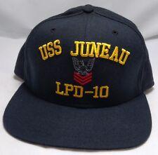 USS JUNEAU LPD-10 snapback hat cap adjustable new era navy black/blue eagle