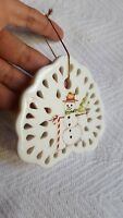 "3"" snowman with candy cane Ceramic Porcelain Flat Christmas Xmas decor Ornament"