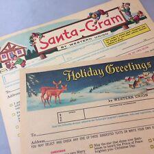 2 c. 1960 Vintage Original CHRISTMAS Santa Gram WESTERN UNION Telegram Form