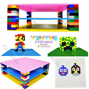FunHaven [4-Pack] Large Base Plates Brick Building Baseplates Board 32 x 32 25cm