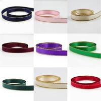DOUBLE SIDED SATIN RIBBON WITH GOLD EDGE *10 COLOURS*3 SIZES CRAFT CARDMAKING