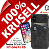 Krusell Tumba GENUINE LEATHER Case 2 Card Handmade Cover for Apple iPhone X / XS