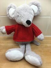 Sainsburys Grey Mouse Soft Plush Toy Comforter Wearing Red Jumper Sweater