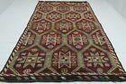 "Anatolia Turkish Kilim Natural Wool Embroidered Rug Handmade Rug Carpet 76""x121"""