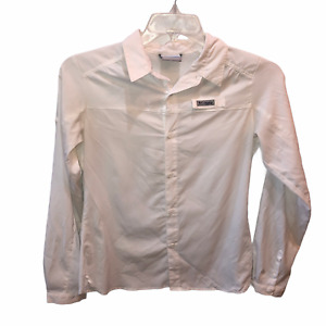 Columbia PFG Boys Large White Long Sleeve Button Front Fishing Shirt Sz L 14/16