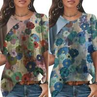 Women Short Sleeve Floral Patchwork T Shirt Casual Loose Tops Blouse Plus Size