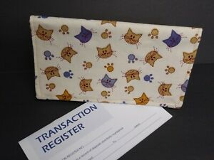 CHECKBOOK Cover Cats Fabric Pattern Wallet Debit Registry Document Holder