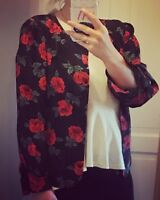 VINTAGE ST MICHAEL's Blouse Jacket Black Red Rose Floral Print UK Size 10