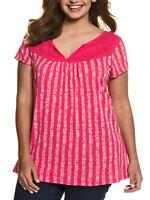 Ulla Popken ladies t-shirt top plus size 20/22 24/26 32/34 pink stripe pattern